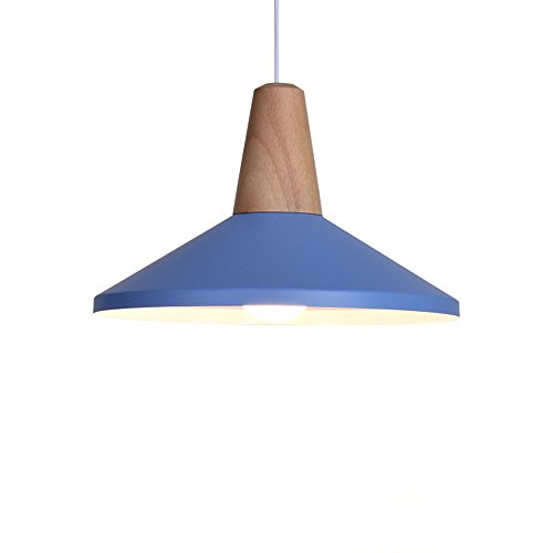 BOKT Modern Style 1-Light Adjustable Dome Pendant Lighting with Metal Shade in Matte-Blue Finish-Modern Industrial Edison Style Hanging E26/E27 Bulb Base 60 Watts (B-Blue) ()