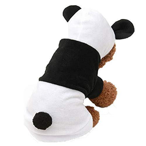 Cuteboom Dog Panda Costume Cat Halloween Clothes Pet Hoodie Apparel for Small to Medium Dogs (S)]()
