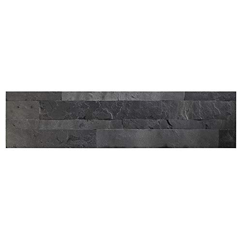 Aspect Peel and Stick Stone Overlay Kitchen Backsplash  Charcoal Slate 59quot x 236quot x 1/8quot Panel  Approx 1 sq ft  Easy DIY Tile Backsplash