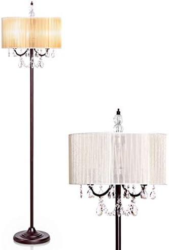 Tangkula Crystal Floor Lamp Sheer Shade Elegant Design Floor Light Tall Upright lamp Stand Light