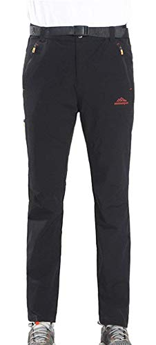 Pantaloni Sccarlettly Per Cerniera Con Trekking Casual All'aperto Antivento Chic Tasche Uomo Nero Traspiranti Da 66qwrd