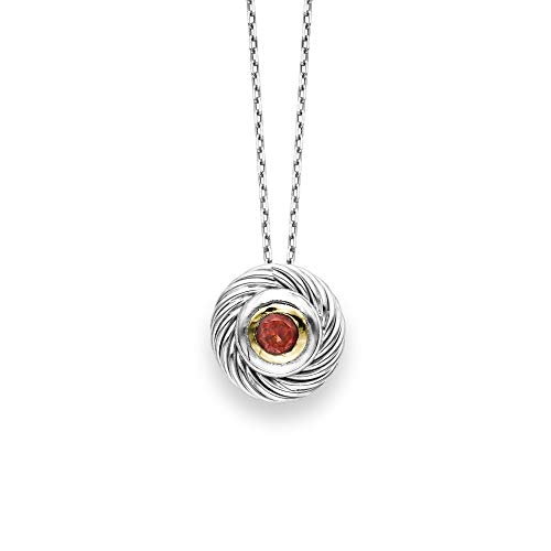 (Sterling Silver Rhodium Plated and 18k Yellow Gold Garnet Rope Solitaire Pendant Necklace, 18 Inches)