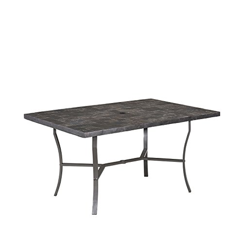 Stone Veneer Gray Slate Tile Top Outdoor Dining Table by Home Styles