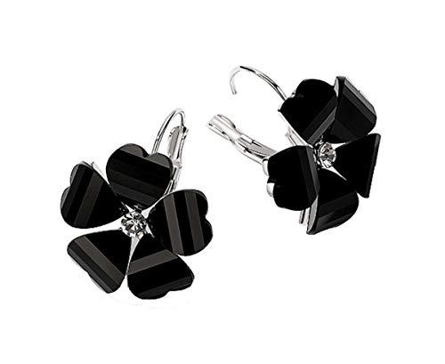MISASHA Celebrity Designer Elegant Dangle Flower Charming Lady Earrings (Black) ()