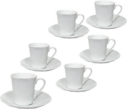 Economy Demitasse Coffee Cups. Set of 6 cups and 6 saucers. 2.5 ounces each