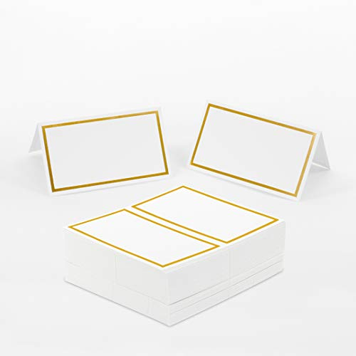 Andaz Press Placecard Gold Foil Table Tent Card in Bulk 100-Pack, Place Card Labels for Wedding, Quinceanera, Sweet 16 Party, Kids Birthday, Baby Shower, Christmas, Party Buffet, Table Seating
