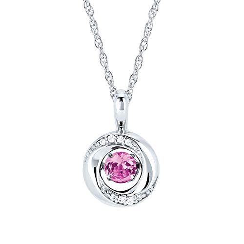 "Brilliance in Motion 925 Sterling Silver 1/5 Carat Dancing Pink Tourmaline October Birthstone & Diamond Accent Knot Pendant Necklace with 18"" Chain"