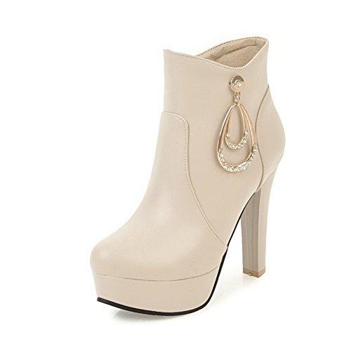 AllhqFashion Damen Rund Zehe Niedriger Absatz PU Rein Reißverschluss Stiefel, Aprikosen Farbe, 40