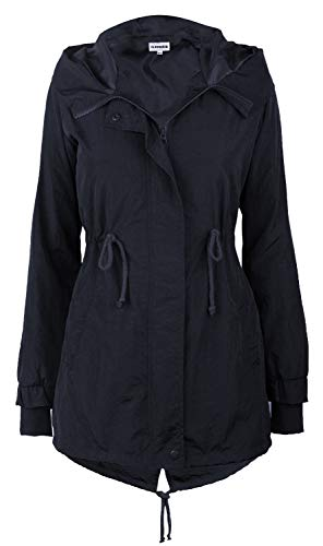 iLoveSIA Women's Military Trench rain Jacket with Hood Jacket Arm Navy Blue US 6
