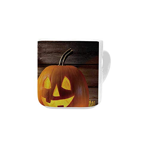 Halloween White Heart Shaped Mug,Grinning Expression Pumpkin Country House Squash Bunch on Wooden Planks Image for Home,2.56