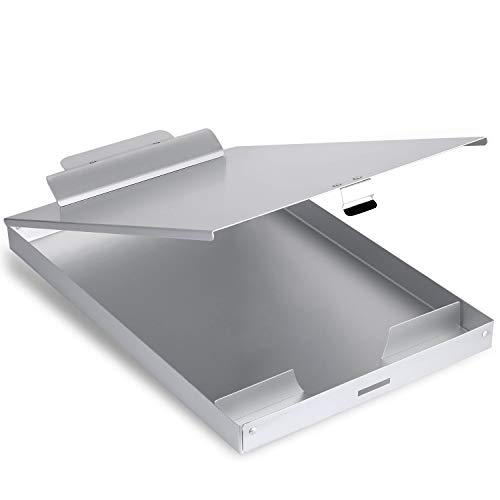 Metal Clipboard with Storage Form Holder Portfolio Aluminum Metal Binder with High Capacity Clip Posse Box Self Locking Latch -14 x 9.25 inch Size Clipboard for Office Business Professionals Stationer