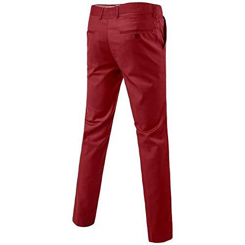 Oeak Costume Manches Mariage Fit Longues Un Elégant Piece 3 Rouge Business Homme Mode Slim Boutons rrqwdS7