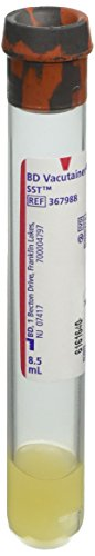 BD Medical Systems 367988 Plastic Tube, Conventional Stopper, Paper Label, 16 mm x 100 mm Size, 8.5 mL Capacity, Red/Gray (Pack of 100) Blood Stopper Gel