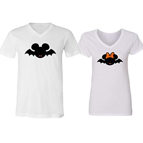 V-Neck Couple for Women and Men Disney Minnie Mickey Bat Halloween -
