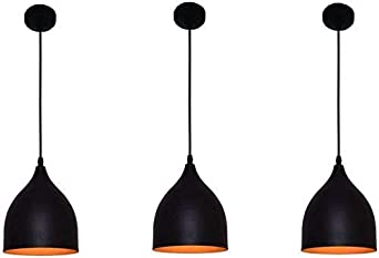 Whiteray Vintage Round Black Aluminium Metallic Hanging Pendant Ceiling Light Lamp Pendant Lights