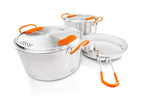 GSI Outdoors Glacier Stainless Steel Base Camper - Medium - 3 Pieces Cookset - Compact, Durable Pot Pan for Camping