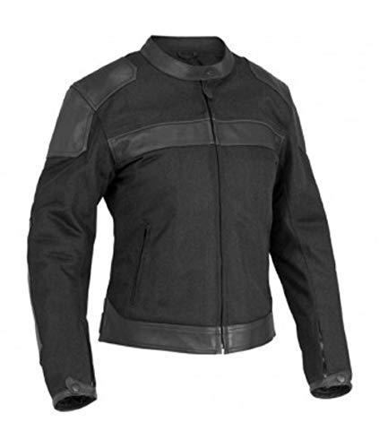 River Road Pecos Classic Womens Black Leather/Mesh Jacket - X-Large