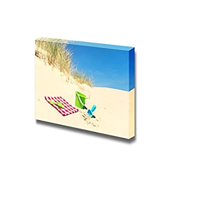 Canvas Prints Wall Art - Picnic and Toys in The Dunes at The Coast | Modern Wall Decor/Home Decoration Stretched Gallery Canvas Wrap Giclee Print & Ready to Hang - 24