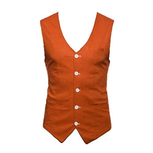 Mode Costume Décontracté Noir Orange Slim Coupe Automne Coton Débardeur Formel Robe Homme w8xZt0Oq