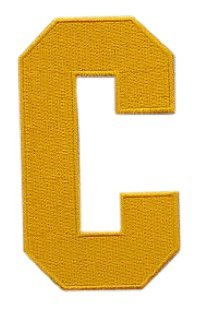 Hockey Style Patch YELLOW GOLD C Patch (Captain) Iron On for Jersey Football, Baseball. Soccer, Hockey, Lacrosse, - Letters Hockey Jersey