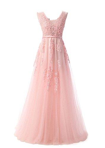 Gr langes Rosa Party Hell Tuell Abendkleid Cocktail Linie A Brautjungfer Ballkleid Kleid Damen Eudolah 46 IwOfqg7