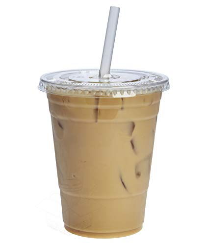 100 Sets 16 oz. Plastic CRYSTAL CLEAR Cups with Flat Lids [by COMFY PACKAGE] for Cold Drinks, Iced Coffee, Bubble Boba, Tea, Smoothie etc.