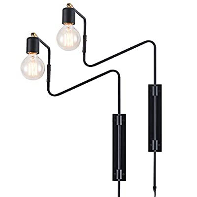 Rustic Swing Arm Plug in Wall Sconce Lamp Light, Black Plating Plug in or Hardwired Industrial Retro Rustic Antique Wall Lamp for Living Room Bedroom, Set of 2