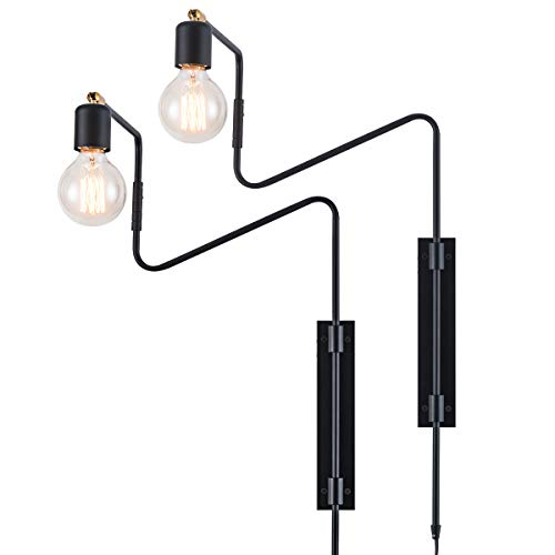 Rustic Swing Arm Plug in Wall Sconce Lamp Light, Black Plating Plug in or Hardwired Industrial Retro Rustic Antique Wall Lamp for Living Room Bedroom, Pack of 2