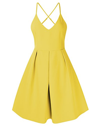 Sexy V Women's Deep Neck Dress Cocktail Sleeveless Adjustable Spaghetti Yellow Party Straps Backless GlorySunshine Dresses wHqpw