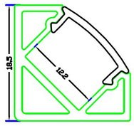 Profils en aluminium blanc 45//° 6063/tl1919/en barres de 2/m pour bandes /à lED avec /étui mat ou transparent avec embouts et crochets de montage inclus COVER OPACA