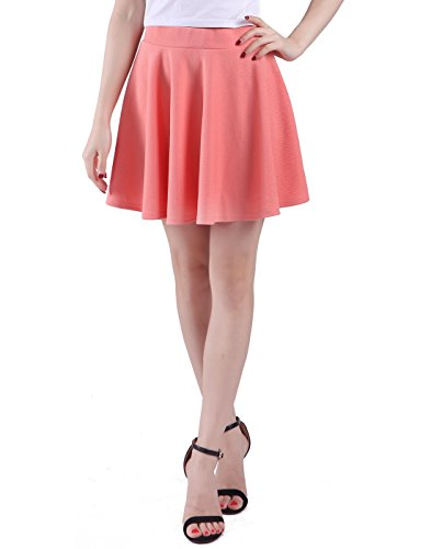 [HDE Women's Skater Skirt Pleated Flared A Line Circle Stretch Waist Skater Skirt (Coral, X-Large)] (1970s Tennis Costume)