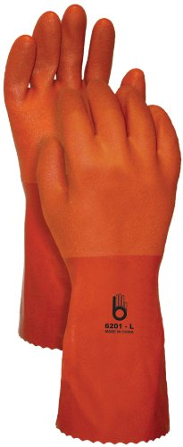Bellingham Glove 6201 PVC Double Coat Gloves, Small, Orange Coat Glove