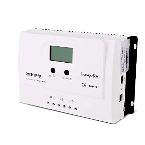 BougeRV 40 Amp MPPT Solar Charge Controller DC 150V PV Input 12V / 24V Solar Controller with LCD Display for Solar Panel Battery Regulator with RS485 Cable