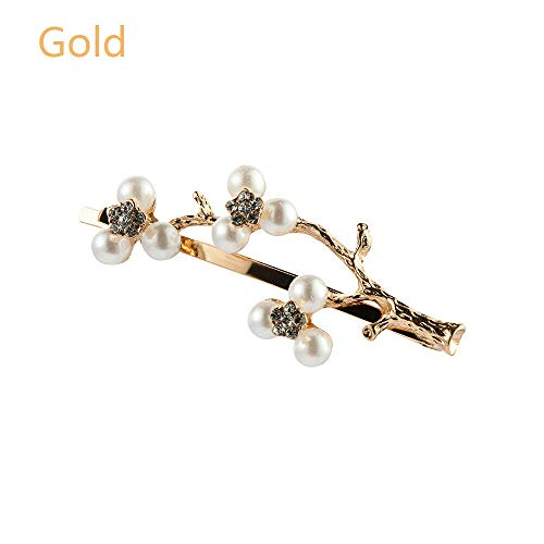 MOPOLIS Women Vintage Tree Hair Clips Alloy Pearls Branch Hairpins Hairgrips Barrette | Color - Gold