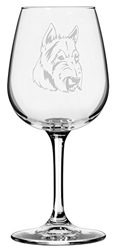 Scottish Terrier (Aberdeen) Dog Themed Etched 12.75oz Libbey Wine Glass