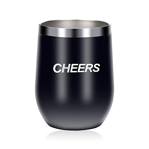 Uncorkd Insulated Wine Glass | 12 oz Stainless Steel Stemless Wine Tumbler with Lid - Perfect for Birthday & Christmas Gift | Family Party Outdoor Drink | Beer Cheers Use | Black