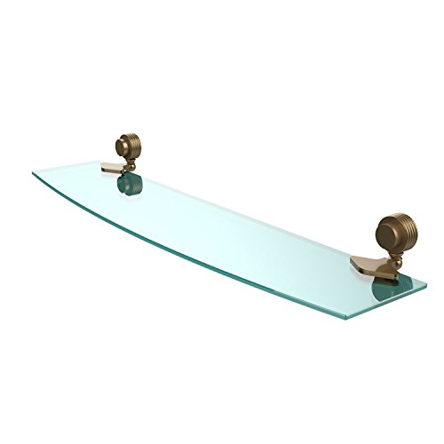 Allied Brass 433G/24-BBR Venus Collection 24 Inch Glass Shelf with Groovy Accents 24-Inch by 5-Inch Brushed Bronze ()