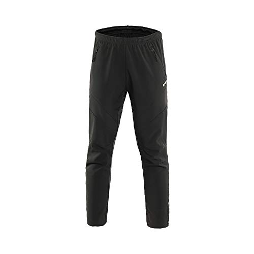 (ARSUXEO Men's Winter Warm Up Thermal Fleece Running Bike Cycling Pants Multi Sports Windproof 18Z Black Size Large)