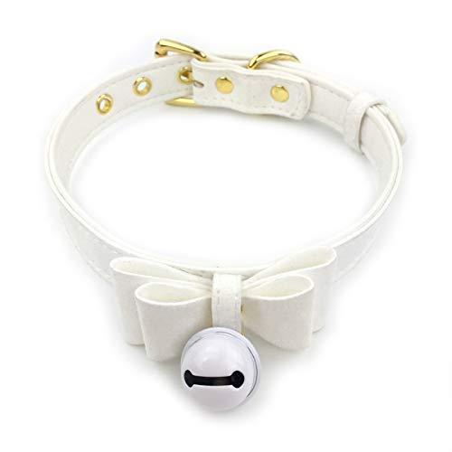 Intimate Lover White Bell Choker Collar Necklace Lolita Bow Collar Cat Cosplay Kitty Velvet Necklace (Z12) ()