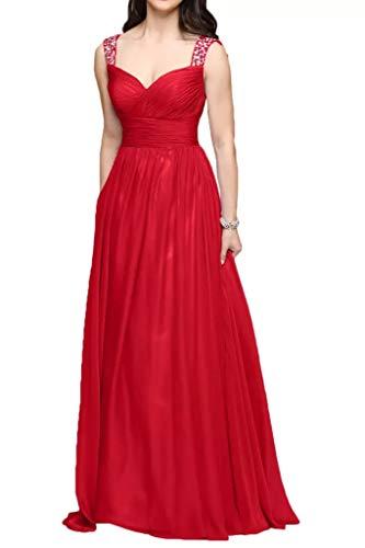 Braut Partykleider Anmutig Abschlussballkleider A La lang Pailletten Linie Abendkleider Rot Traeger Breit Marie CgE05w