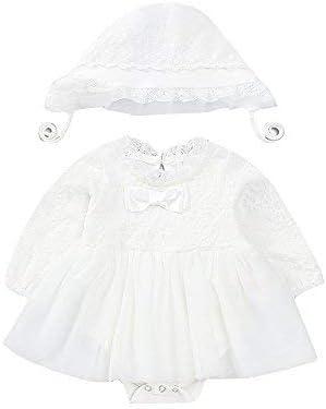 mikistory Baby Dress Baby Girl Neonato Bianco Pizzo Pagliaccetto Abito da Sposa Set Hat 0-2 Anni
