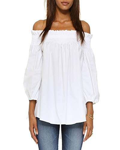 ZANZEA Women's Plus Size Off Shoulder 3/4 Sleeve Loose Long Tops Blouse Shirt White US 8/Asian S]()