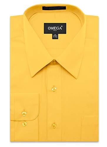 JC DISTRO Men's Regular Fit Dress Shirt w/Pocket 17-17.5 Neck-34/35Sleeve (XL) Yellow (Shirt Dress Fit Pinpoint)