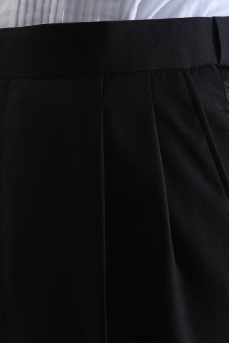 Men's Super 140s Black Stretch Wool Tuxedo Pants