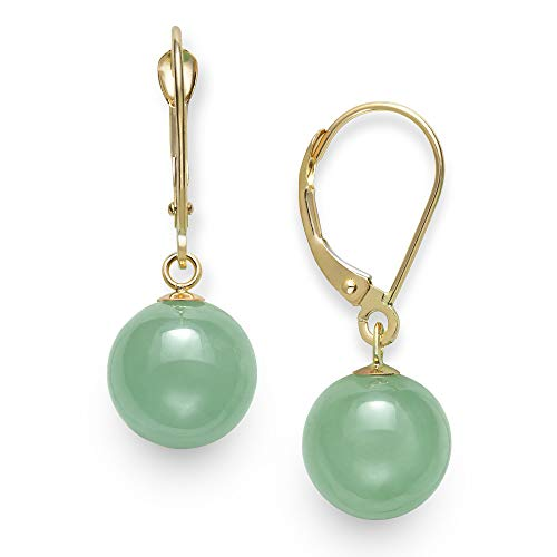 14k Yellow Gold Natural Green Jade Drop Dangle Leverback Earrings