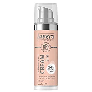 lavera 3en1 Tinted Moisturising Cream -Ivory Rose 00- Crème hydratante teintée 24h ∙ Aloe vera bio ∙ Vegan Cosmétiques naturels Make up Ingrédients végétaux bio 100% Naturel Maquillage (30 ml)