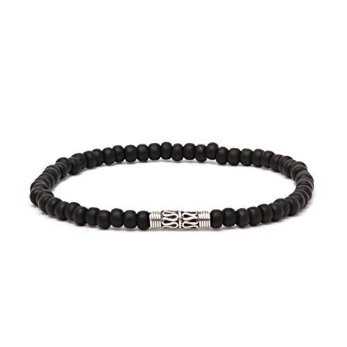 - Asortis Men's Sterling Silver Bali Seed Bead 4mm Stretch Bracelet (Black)