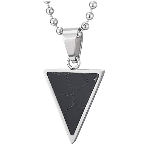 COOLSTEELANDBEYOND Mens Womens Steel Small Inverted Triangle Pendant Necklace with Black Gem Stone, 23.6 in Ball ()