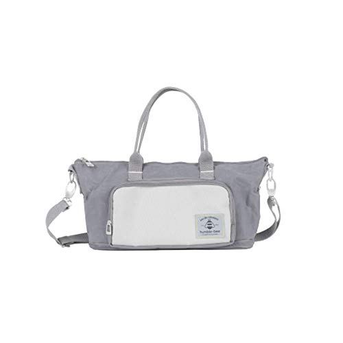 Humble-Bee Lightweight Diaper Bag Compact Expandable Stylish Mommy Organizer Water Repellant Tote with Removable Shoulder Strap and Stroller Straps - Mini Charm Pebble Grey (Gray)