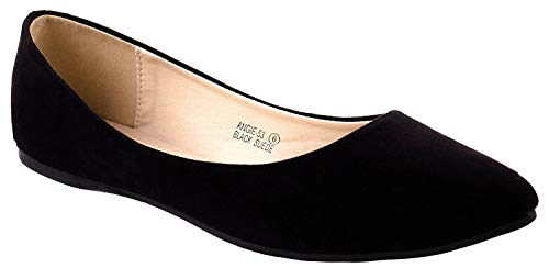 Mesh Suede Flats - Bella Marie Angie-53 Women's Classic Pointy Toe Ballet Slip On Suede Flats, MVE Shoes Kreme Black NB 8